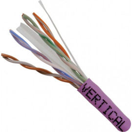Cat6, 23AWG, UTP, 8C Solid Bare Copper, 550MHz, Riser Rated, PVC Jacket 1000ft. Purple