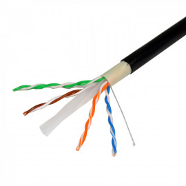 Cat6 UTP Outdoor Ethernet Network Cable Direct Burial 550MHZ 23AWG 1000FT Black