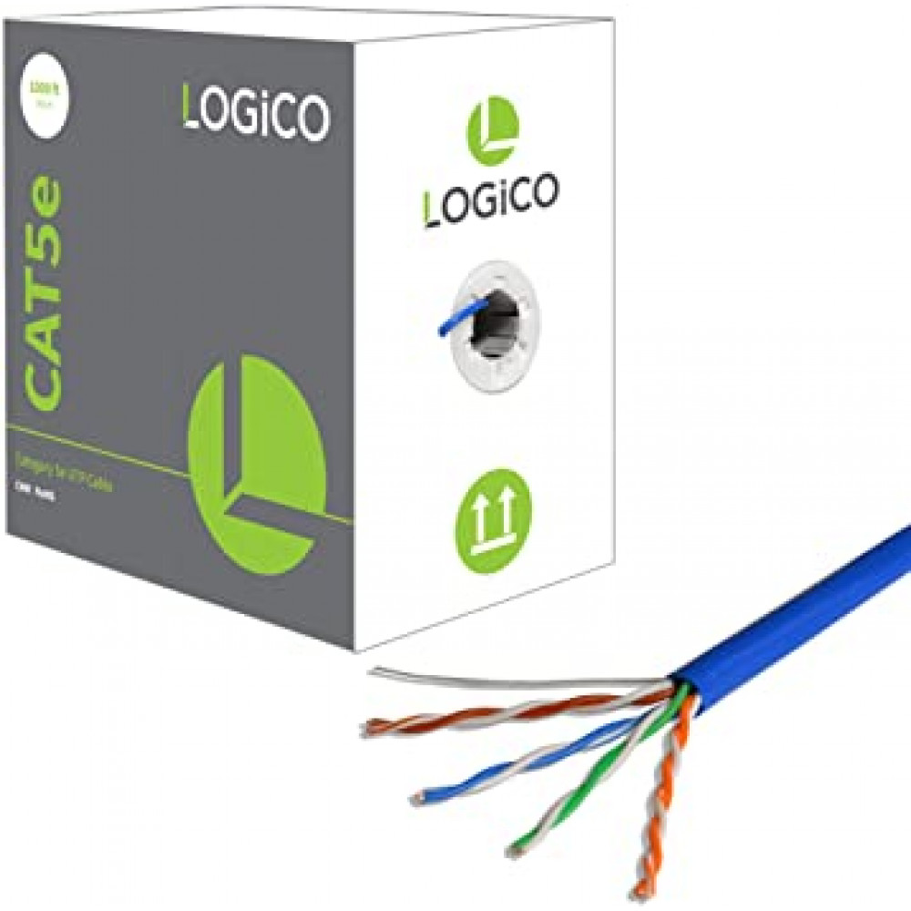 Cat5e UTP 1000ft Bare Copper Bulk Ethernet Network Cable 24AWG 350Mhz Plenum Blue