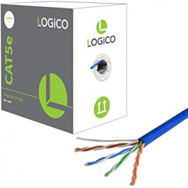 Cat5e UTP 1000ft Bulk Ethernet Network Cable 24 AWG 350 Mhz Copper Riser Blue, Gray