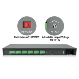 PROFESSIONAL RACK MOUNT, DC12V, 20AMP,18CH, LCD Monitor for Voltage and Current