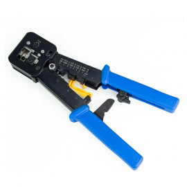 RJ45 Crimping Tool with Wire Cutter Stripping Blades for Pass through connector