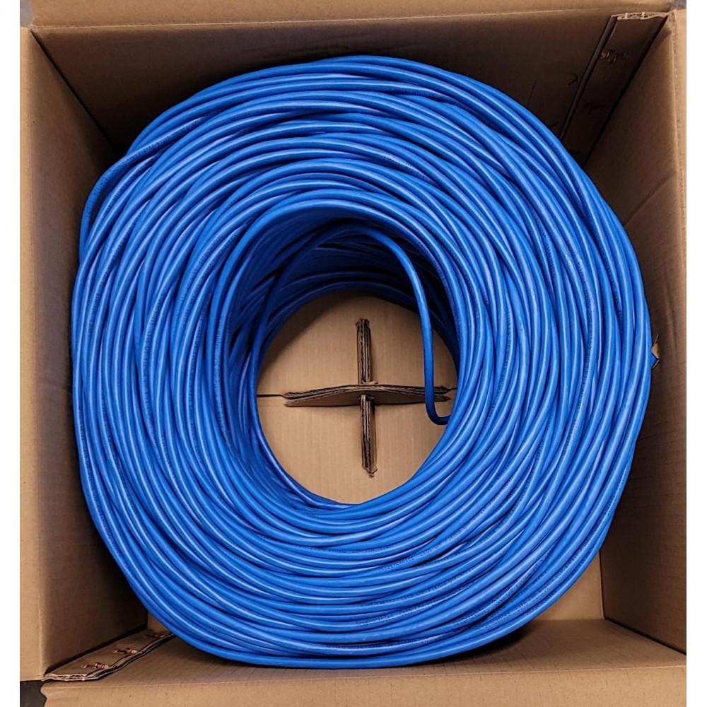 Cat6 Plenum Bare Copper UTP 1000ft Bulk Ethernet Network Cable 23AWG 550Mhz Blue