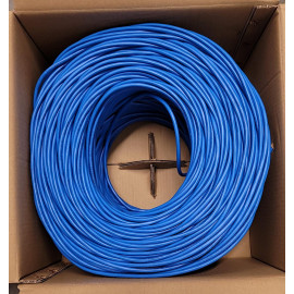 Cat6A UTP 1000ft Bulk Ethernet Network Cable 10G 23AWG Solid wire Plenum Bare Copper Blue, Gray, White