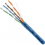 Cat5E, 24AWG, UTP, 8C Solid Bare Copper, 350MHz, Riser Rated, PVC Jacket, Blue,1000ft. Pull Box