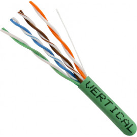 Cat5E, 24AWG, UTP, 8C Solid Bare Copper, 350MHz, Riser Rated, PVC Jacket, Green,1000ft. Pull Box