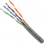 Cat5E, 24AWG, UTP, 8C Solid Bare Copper, 350MHz, Riser Rated, PVC Jacket, Gray,1000ft. Pull Box