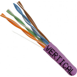 Cat5E, 24AWG, UTP, 8C Solid Bare Copper, 350MHz, Riser Rated, PVC Jacket, Purple,1000ft. Pull Box