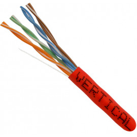 Cat5E, 24AWG, UTP, 8C Solid Bare Copper, 350MHz, Riser Rated, PVC Jacket, Red,1000ft. Pull Box