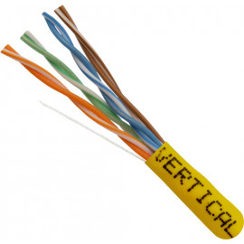 Cat5E, 24AWG, UTP, 8C Solid Bare Copper, 350MHz, Riser Rated, PVC Jacket, Yellow, 1000ft. Pull Box