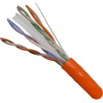 Cat6, 23AWG, UTP, 8C Solid Bare Copper, 550MHz, Riser Rated, PVC Jacket 1000ft. Orange