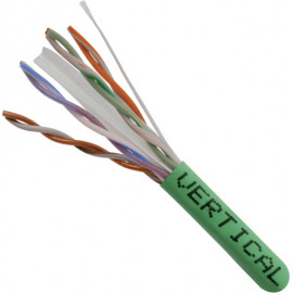 Cat6, 23AWG, UTP, 8C Solid Bare Copper, 550MHz, Riser Rated, PVC Jacket 1000ft. Green