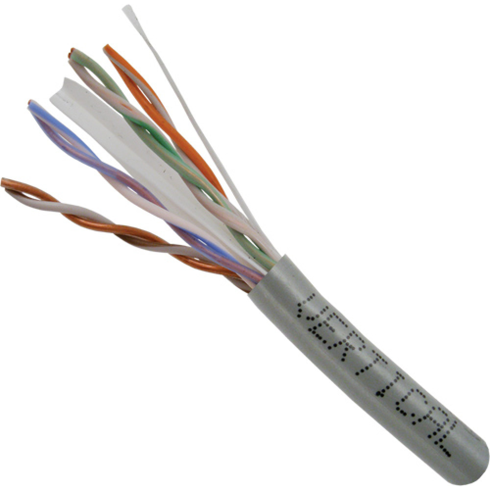 Cat6, 23AWG, UTP, 8C Solid Bare Copper, 550MHz, Riser Rated, PVC Jacket 1000ft. Gray