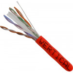 Cat6 Solid Bare Copper CMP Rated, 23AWG, UTP, 8C  550MHz, 1000ft Pull Box, Red – UL Listed