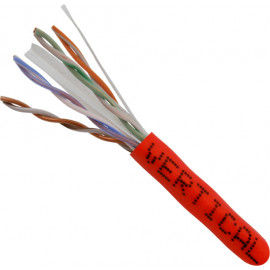 Cat6, 23AWG, UTP, 8C Solid Bare Copper, 550MHz, Riser Rated, PVC Jacket 1000ft. Red