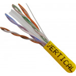 Cat6, 23AWG, UTP, 8C Solid Bare Copper, 550MHz, Riser Rated, PVC Jacket 1000ft. Yellow