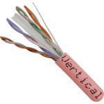 Cat6, 23AWG, UTP, 8C Solid Bare Copper, 550MHz, Riser Rated, PVC Jacket 1000ft. Pink