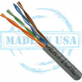CAT5E, Plenum, MADE IN USA, 24AWG, UTP, 4 Pair, Solid Bare Copper, 350MHz, 1000ft Pull Box, Grey – UL Listed