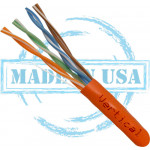 CAT5E, Plenum, MADE IN USA, 24AWG, UTP, 4 Pair, Solid Bare Copper, 350MHz, 1000ft Pull Box, Orange – UL Listed