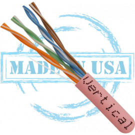 CAT5E, Plenum, MADE IN USA, 24AWG, UTP, 4 Pair, Solid Bare Copper, 350MHz, 1000ft Pull Box, Pink – UL Listed