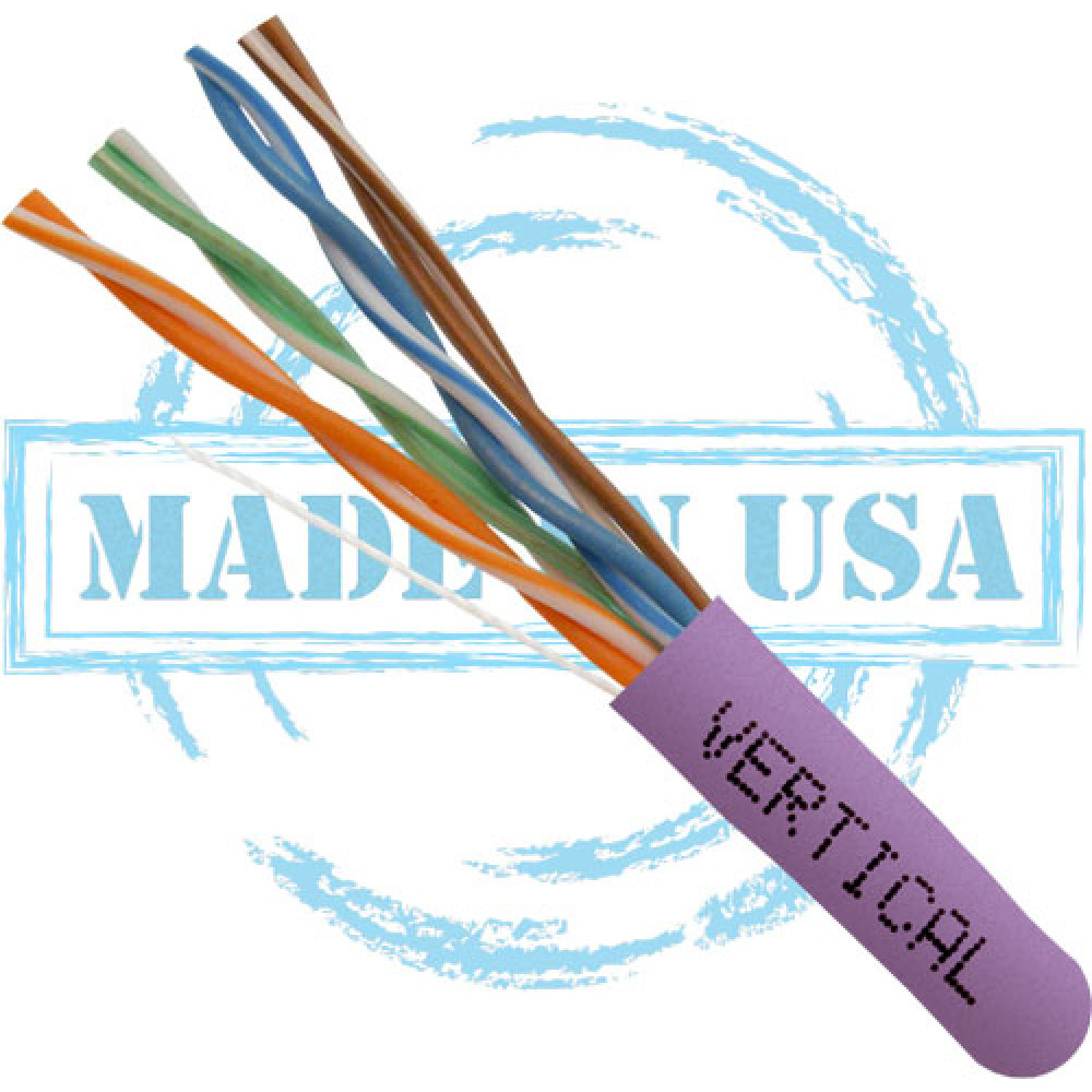 CAT5E, Plenum, MADE IN USA, 24AWG, UTP, 4 Pair, Solid Bare Copper, 350MHz, 1000ft Pull Box, Purple – UL Listed