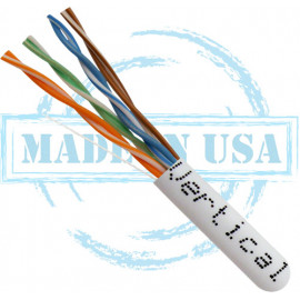 CAT5E, Plenum, MADE IN USA, 24AWG, UTP, 4 Pair, Solid Bare Copper, 350MHz, 1000ft Pull Box, White – UL Listed