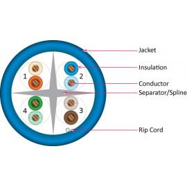 Cat6, 23AWG, UTP, 8C Solid Bare Copper, 550MHz, Riser Rated, PVC Jacket 1000ft. Blue