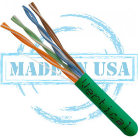 Cat6 CMP Rated, 23AWG, UTP, 8C Solid Bare Copper, 550MHz, 1000ft Pull Box, Green- UL Listed