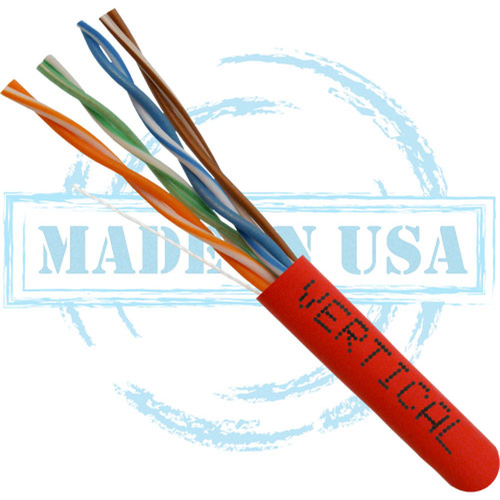 Cat6 Plenum Solid Bare Copper CMP Rated 1000ft Pull Box Red UL Listed