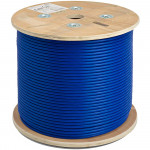 Cat6A UTP 1000ft Bulk Ethernet Network Cable 10G 23AWG Solid Wire Riser White, Blue