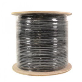 Cat5e Outdoor Shielded Bare Copper Ethernet Network Cable 1000FT Black Direct Burial/Gel