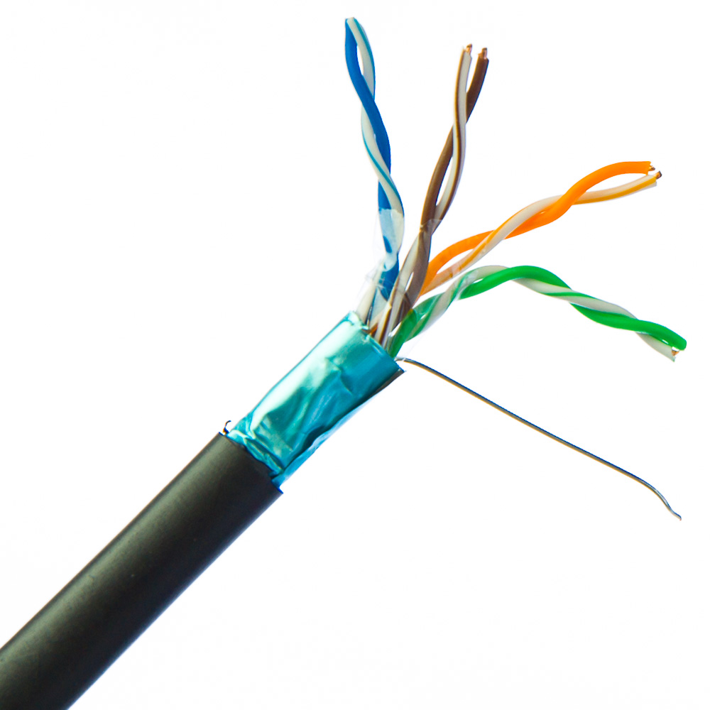 1000FT CAT5e FTP Outdoor, Direct Burial, shielded solid Network Ethernet LAN Cable Bulk wire